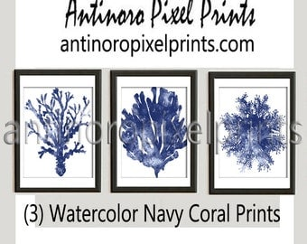 Small Thru Poster Watercolor Navy Indigo Coral Pictures, Set of (3) Wall Art Prints, Custom Colors Sizes Available, (Unframed) #226667184