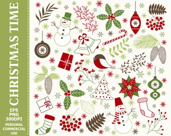 BUY 1 GET 1 FREE - Digital Christmas Clipart - Gifts, Decorations, Holly, Snowman, Christmas Clipart. Commercial and Personal use