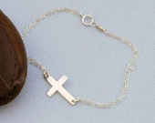 Cross Bracelet - Dainty Gold Bracelet / Sideways Cross, Faith Jewelry, Confirmation Gift, Gold Bracelet, Silver Charm Bracelet