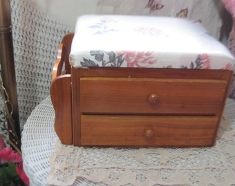 Sweet Little Sewing Box with Pad on top, storage for books at side