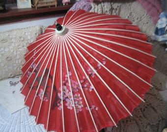 Vintage Oriental Bamboo silk or Nylon  Umbrella Parasol