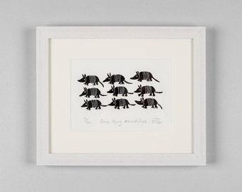 Lino cut print - Nine tiny armadillos - nature art, animal art, critters