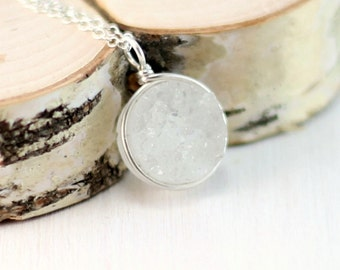 White Druzy Necklace, Sterling Silver Druzy Quartz Pendant Wire Wrapped Druzy Jewelry Drusy Necklace