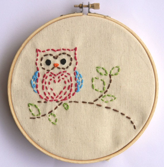 Embroidery kit little woodland owl beginner by