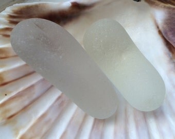 Sea glass: Two large pieces of white Seaham sea glass. Smooth and well tumbled. Ideal for jewellery