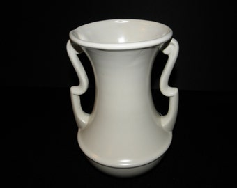 Vintage Large Gonder Pottery Art Deco Matte White Double Scrolled Handle Vase - circa 1940 - from DustyMillerAntiques
