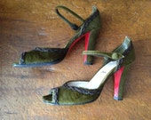 Reserved for C ~ Vintage Italy 90s Christian Louboutin Paris ~ Olive Green Dress Heels Ankle Straps ~ EU 39.5 ~ US 9