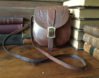 Tooled Leather Saddlebag Handbag Artisan Crafted Chestnut Brown Tooled Leather Solid Brass Buckle