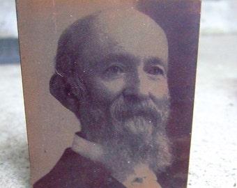 Vintage Copper Printing plate photo portraits on wood blocks 1890's era (4)