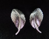 Vintage Screw Clip Earrings, Patent 3,176,475.  Silver Tone Feathers, 1960s