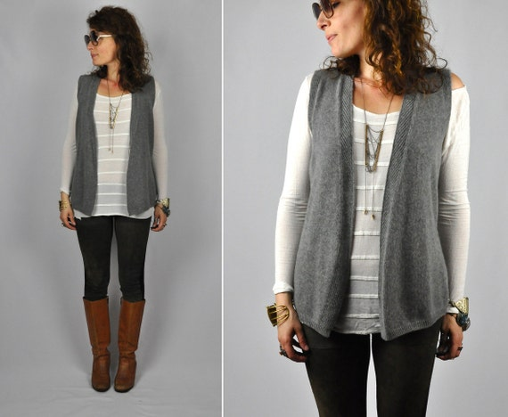 Cashmere VALENTINO Boutique Gray Cardigan Vest Made in Italy Buttery ...