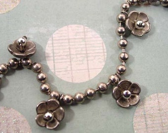 Silver Tone Ball Chain Necklace With Dangling Flowers - Vintage