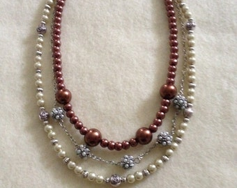 Pearl, Beads, and Chain necklace