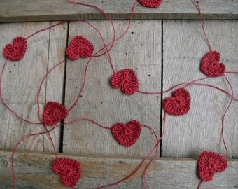 Crocheted burgundy red hearts garland, wedding garland, wall Hanging, Crochet Wedding Garland, crochet ornament, embellishment,applique