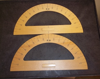 Wooden 15 1/4 Inch Protractor - Lot of 2