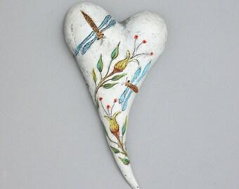 "Heart, ceramic wall art, Jacquline Hurlbert, one of a kind, unique, title: ""Dragon Dance"""