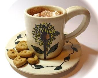 Mug and Plate Set, Cup and Plate Set, Dessert coffee set, Sunflower kitchenware, wedding gift