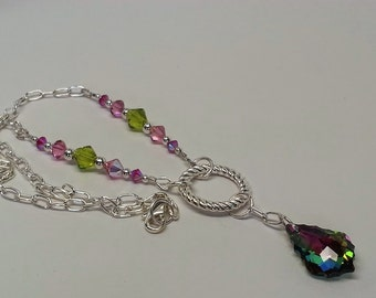 Pink and Green Vitrail Swarovski Crystal Y Necklace - Silver, Chain, Holiday, Christmas, Gift, Rose, Dark Pink
