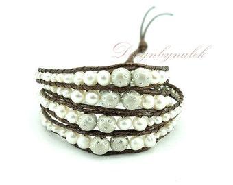 White freshwater pearl 4 time wrap bracelet.