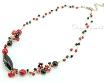 Onyx,red agate,crystal on silk necklace.