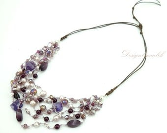 Amethyst,freshwater pearl,crystal on silk necklace.