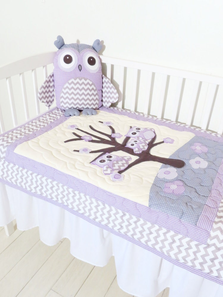 Organic Owl Quilt Baby Crib Bedding Kids By Customquiltsbyeva