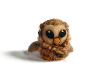 Felted Art Owl, Needle Felted Curly Owl, Fibre Tawny Owl Sculpture ('Caramel')