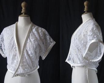 Bolero jacket short sleeves, French Lace, Vintage 1980 's
