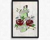 Original Illustration Jawbreaker / Lucero Bottle Print
