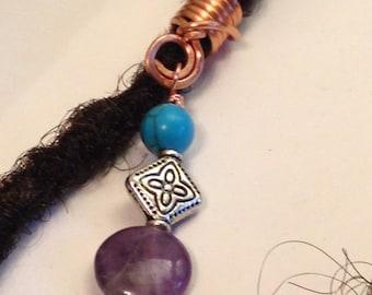 Turquoise Amethyst Hair Bead Dread Locs Dreadlock Jewelry