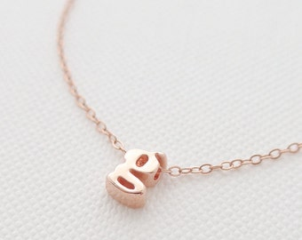 Rose Gold Initial Necklace - tiny letter necklace - delicate necklace - delicate jewelry - Christmas gift for her // Lower Case