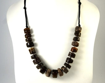 Genuine Baltic Amber Necklace Dark Cylinder form Beads 55 cm 22 inches