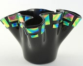 Black and Tie-Dye Dichro Ruffle Fused Glass Vase