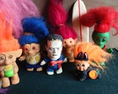 Troll Dolls, Surfer, Frankenstein, Martian, Big and Little