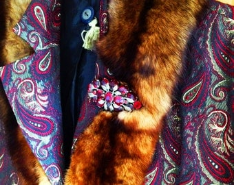 Marjorie=Brocade Jacket in Wine and Chestnut Tones with Vintage Red Stone Brooch, Vintage Buttons, Back Chain and Vintage Fur Collar