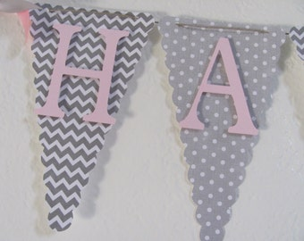 Birthday Banner, Pink and Gray Happy Birthday Banner, Birthday Banner, Birthday Decorations