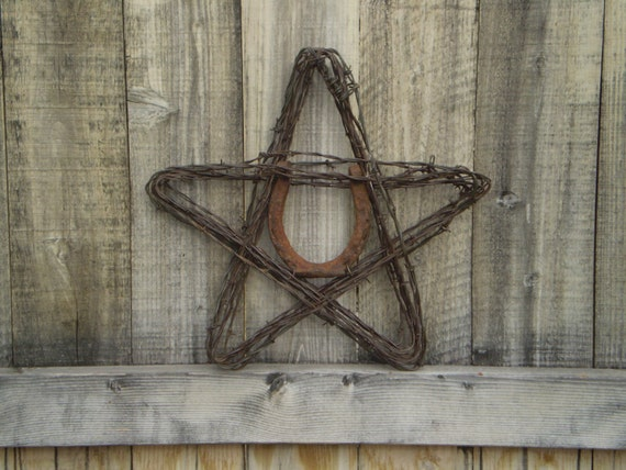 Wire And Glass Wall Art Home Decor ~ Barbed wire star lucky horseshoe rustic home decor