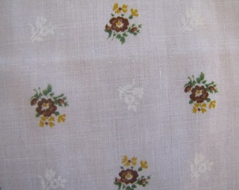 1970's White Calico Fabric, White Floral Fabric, Calico, Cotton, Flower, Floral, 1970's, White, Yellow, Green, Purple, Quilters Weight