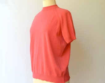 Vintage 60s Mod Knit Top -- Hot Pink BanLon Style Scooter Girl Shirt -- M/L