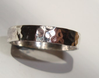 Hammered silver ring. Hammered ring. sterling silver ring. Any size. The Calder Crafter. Naomi Neale