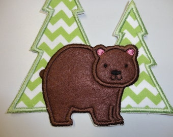 Bear Patch, Bear Iron On, Winter Bear and Tree Iron On Patch