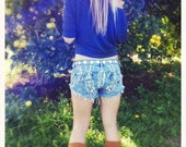 Upcycled Denim Shorts with Feather Design hand bleached and painted