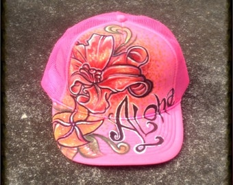 Hand Painted Aloha flower Art Hat by Marcelo Souza
