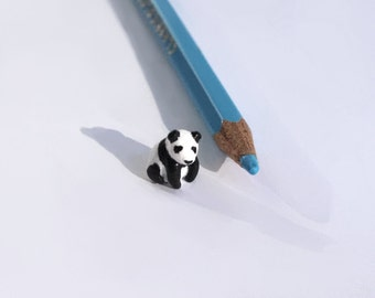 Miniature Panda, polymer clay sculpture, Made to order