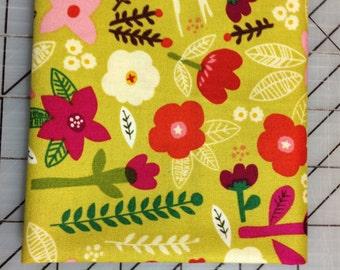 Organic Petite Fleur Fat Quarter - Swallow Garden in Citron by Carolyn Gavin - Organic Cotton - 39521