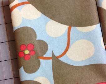 Amy Butler Lotus Morning Glory- FAT QUARTER in Linen AB14- Grey, Orange, Blue