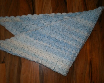 lovely and snug crocheted baby afghan blanket shades of blue