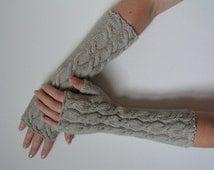 Merino fingerless gloves wrist warmers long