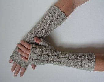 Merino fingerless gloves wrist warmers long