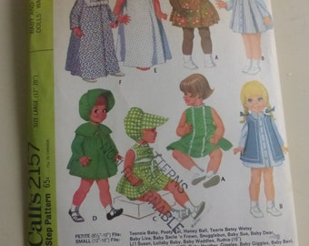 Vintage McCall's Pattern 2157 Large 17 to 20 Inch Baby and Toddler Dolls' Wardrobe